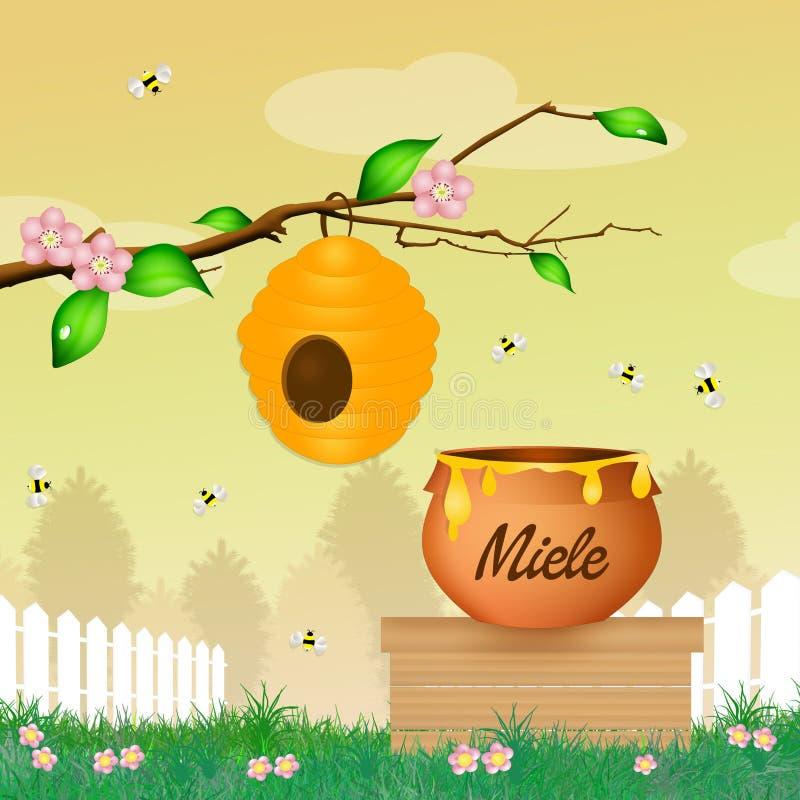 Miel y abejas libre illustration