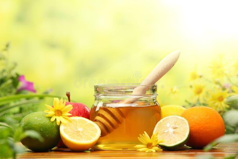 Miel y frutas frescas foto de archivo