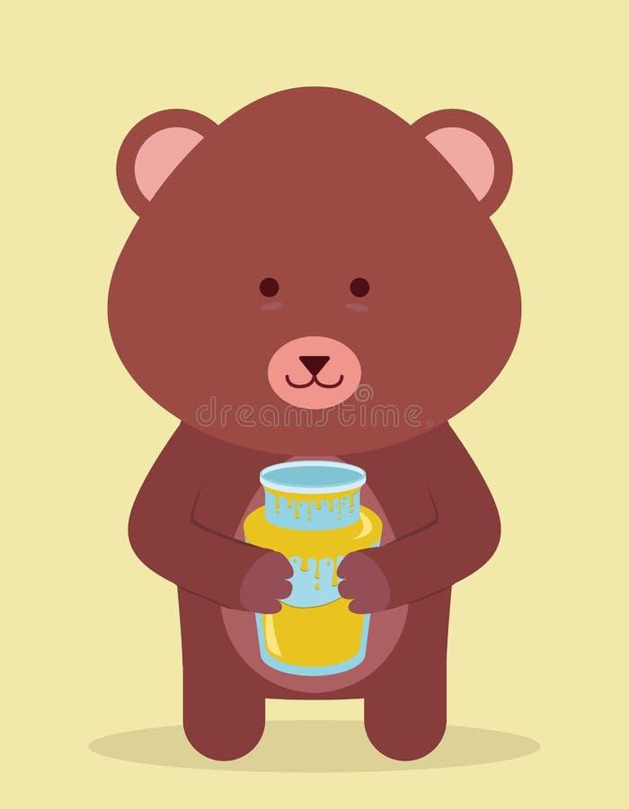 Miel y oso stock de ilustración