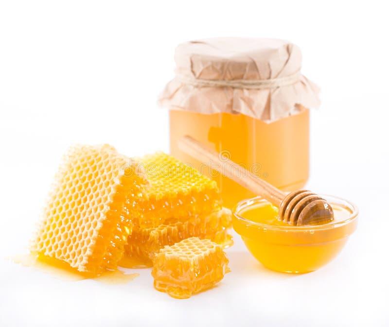 Miel y panal de la flor fresca foto de archivo libre de regalías