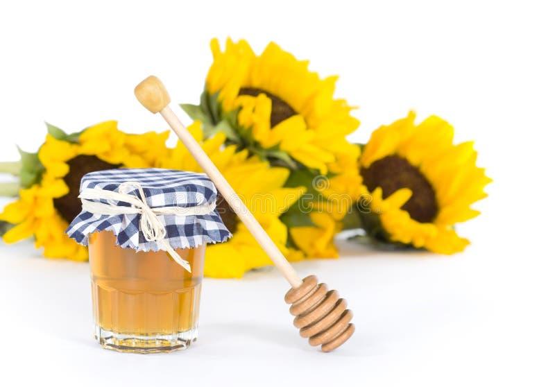 Miele & girasoli fotografie stock libere da diritti