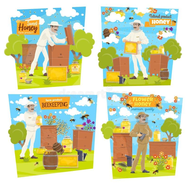 Miele, ape ed apicoltore sull'arnia di apicoltura illustrazione di stock