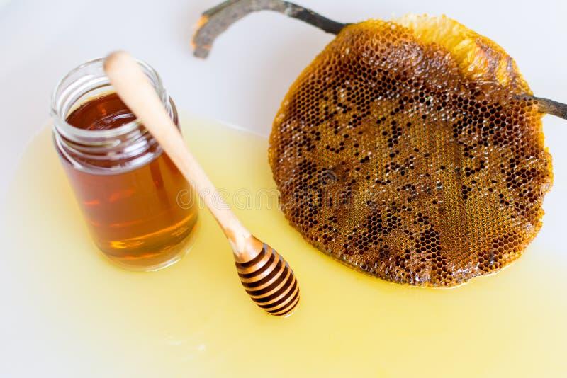 Miele con il favo immagine stock libera da diritti