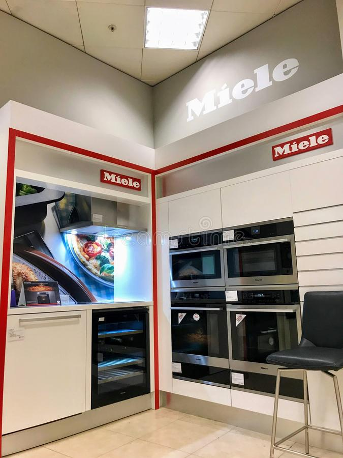 Miele counter in a department store of London. Miele is a German manufacturer of high-end domestic appliances and commercial equipment.  Miele produces domestic stock photos