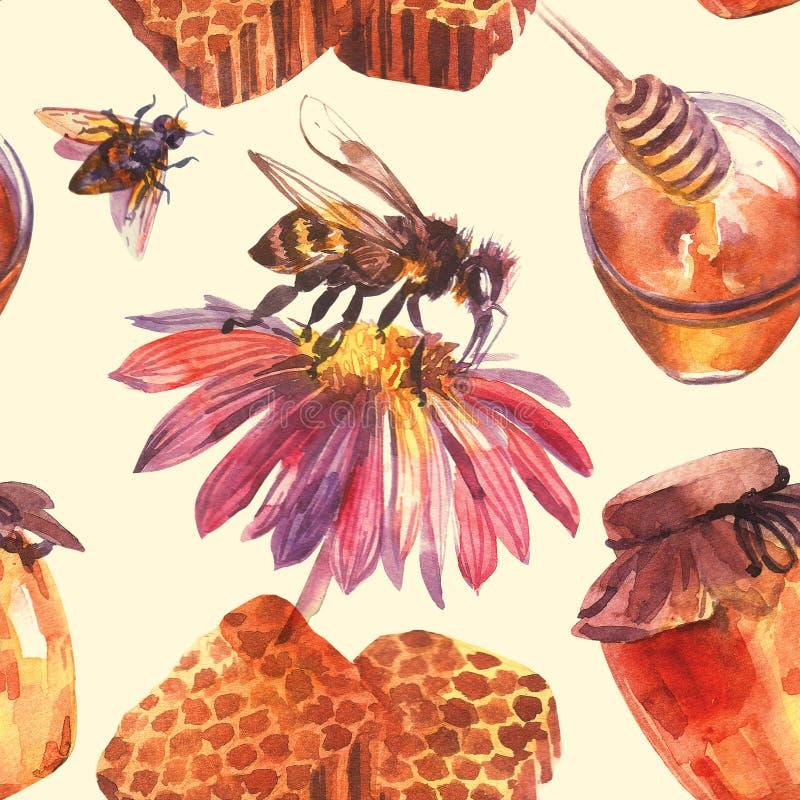 Miele disegnato a mano dell'illustrazione dell'acquerello Belle immagini dipinte royalty illustrazione gratis
