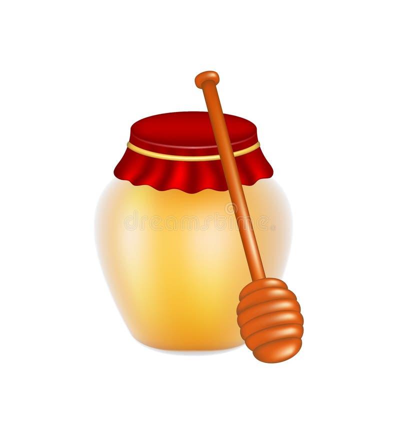 Miele dolce e merlo acquaiolo di legno del miele illustrazione vettoriale