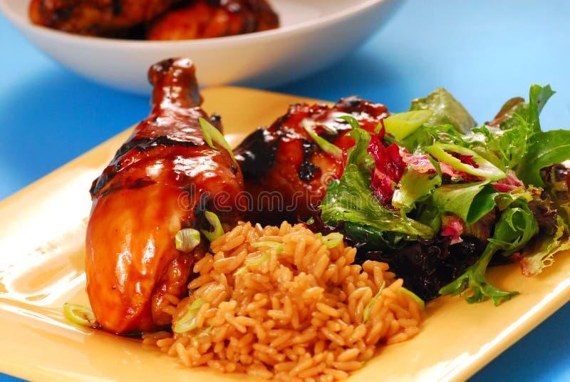 Miele e pollo asiatico lustrato balsamico immagini stock libere da diritti
