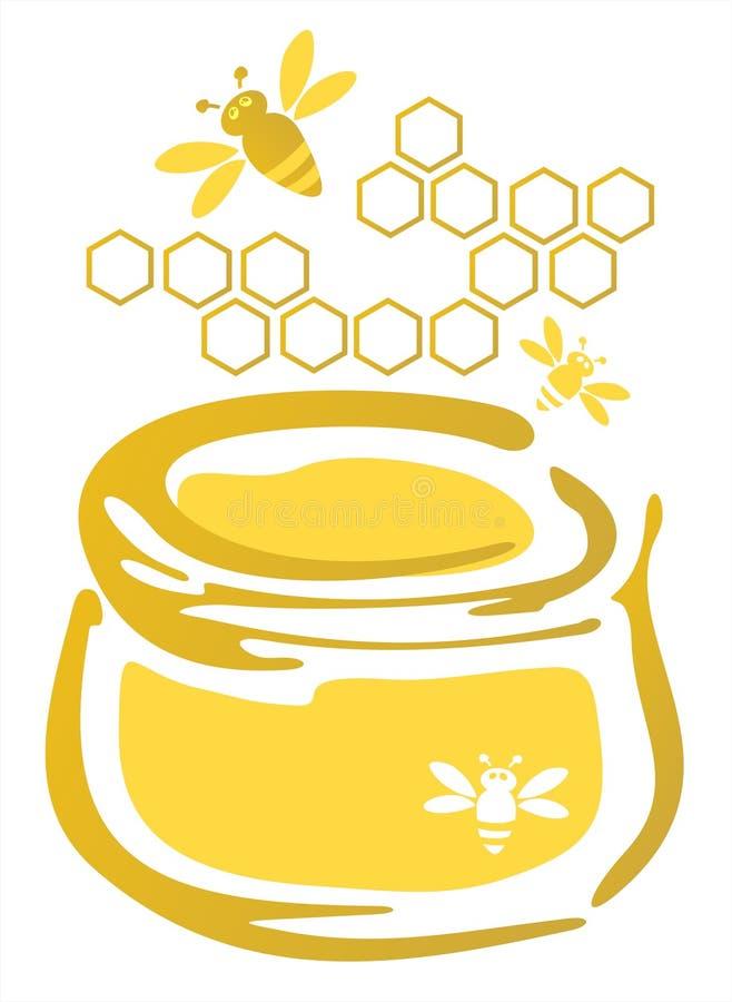 Miele ed api royalty illustrazione gratis