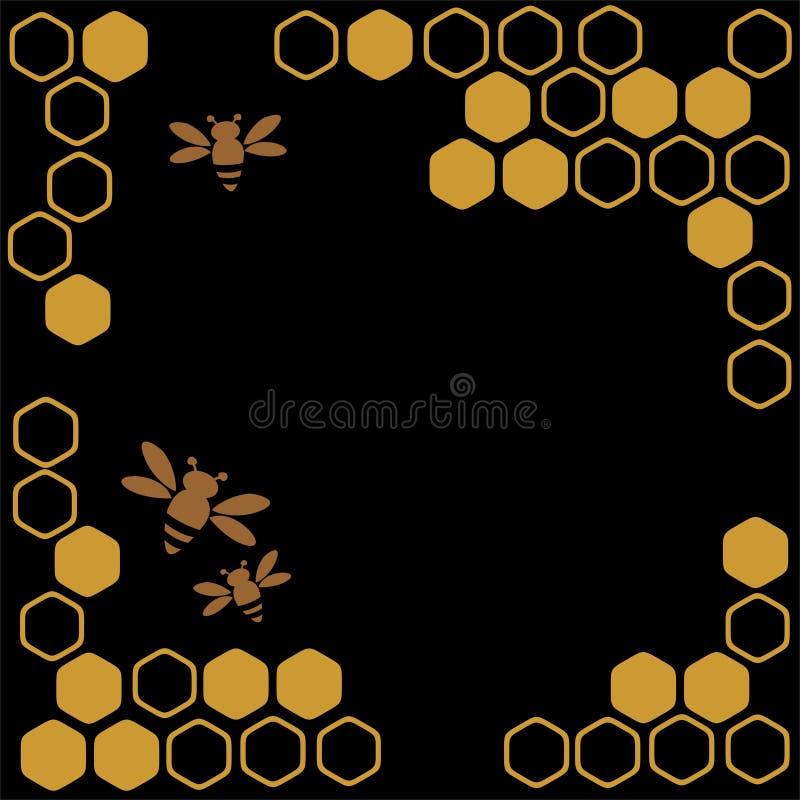 Miele ed api illustrazione vettoriale