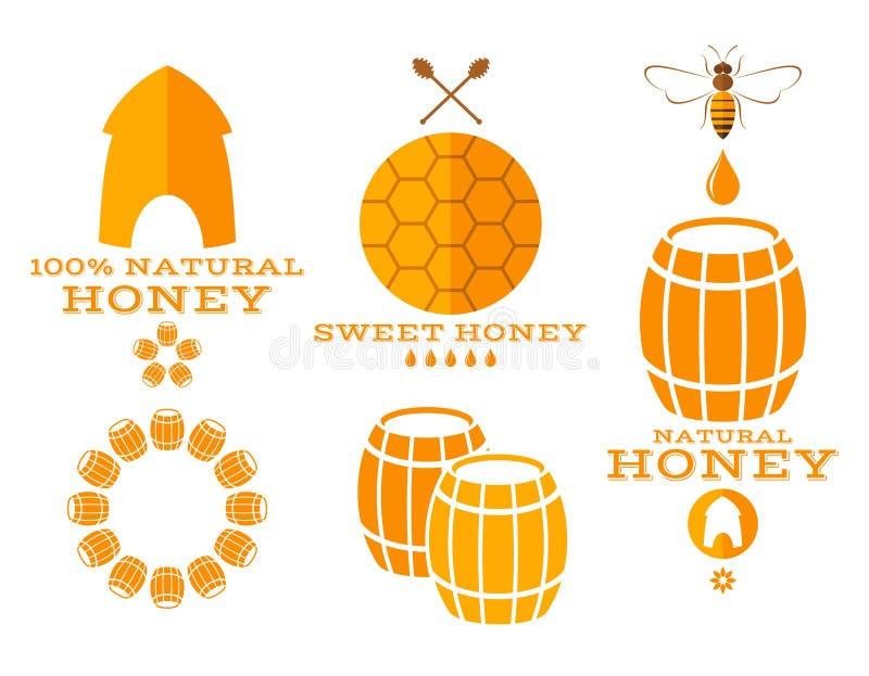 Miele etichette ed icone illustrazione vettoriale