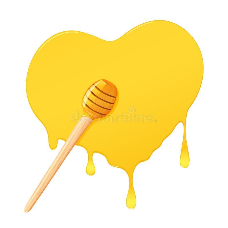 Miele in in forma di cuore illustrazione di stock