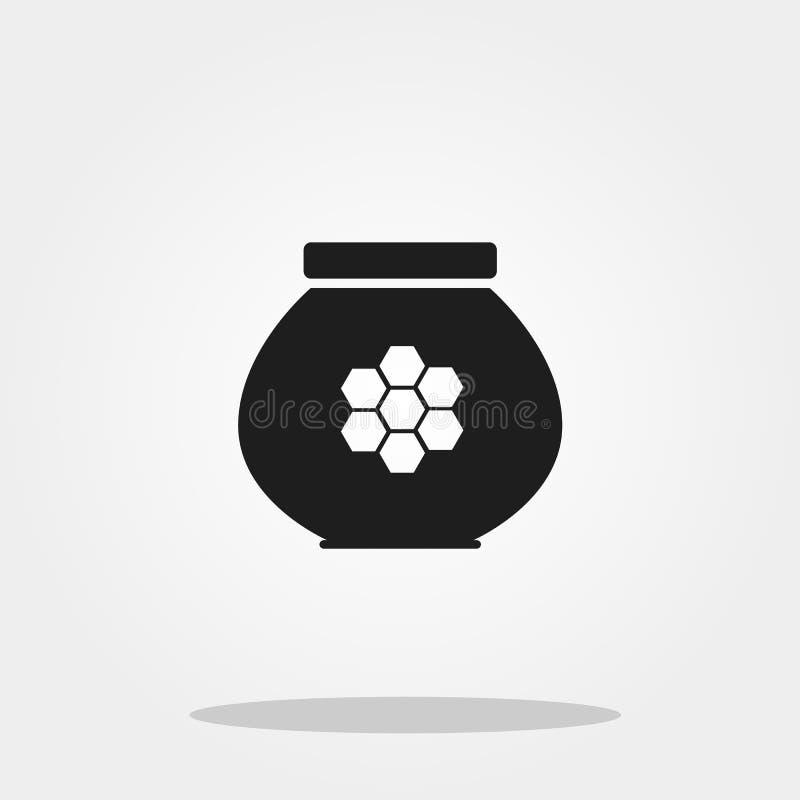 Miele nell'icona sveglia del barattolo nello stile piano d'avanguardia isolata sul fondo di colore royalty illustrazione gratis