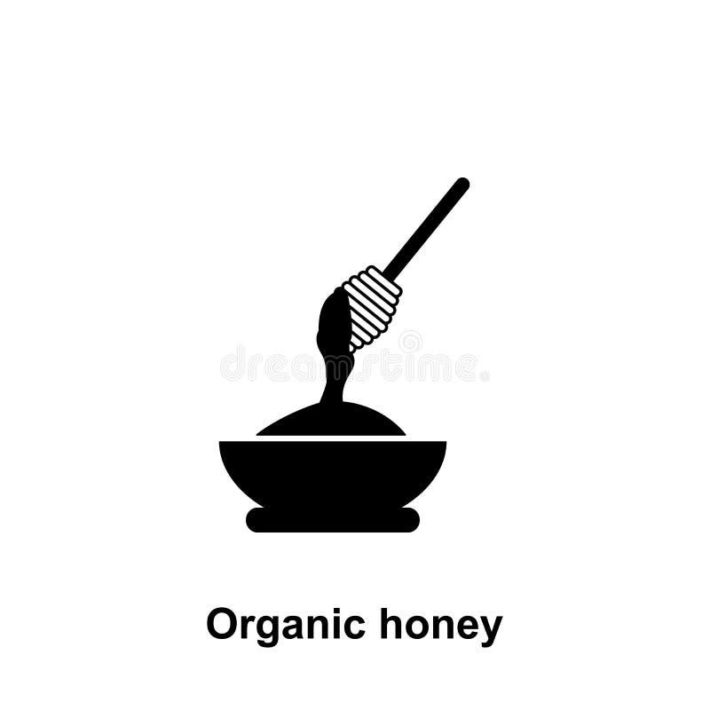 miele organico nell'icona del piatto Elemento dell'icona di apicoltura Icona premio di progettazione grafica di qualità Segni ed  illustrazione di stock