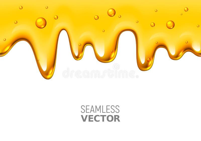 Miele senza cuciture della sgocciolatura di vettore su fondo bianco illustrazione vettoriale