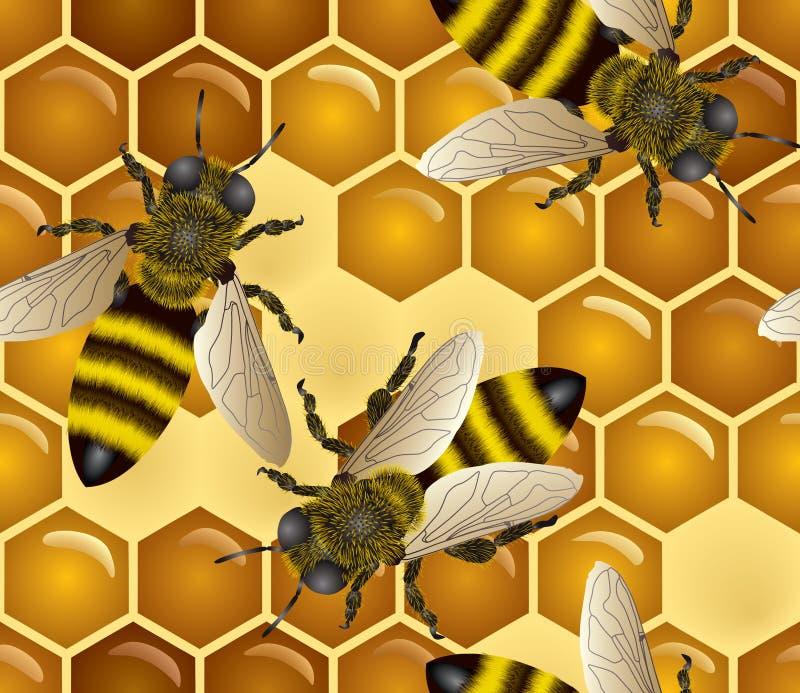 Miele senza giunte con gli api illustrazione di stock