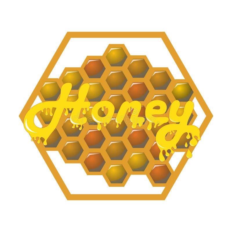 Miele sui pettini del miele etichetta e gocce royalty illustrazione gratis