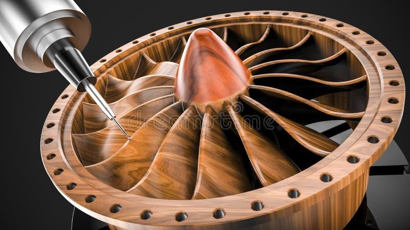 Mielenie drewniana turbina w pięć osi CNC maszynie ilustracji