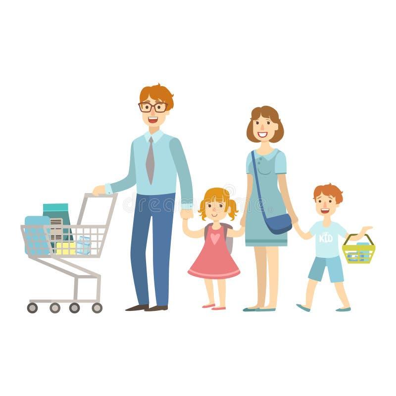 Miembros de la familia de cuatro miembros que hacen compras en el supermercado, ejemplo de la serie cariñosa feliz de las familia ilustración del vector