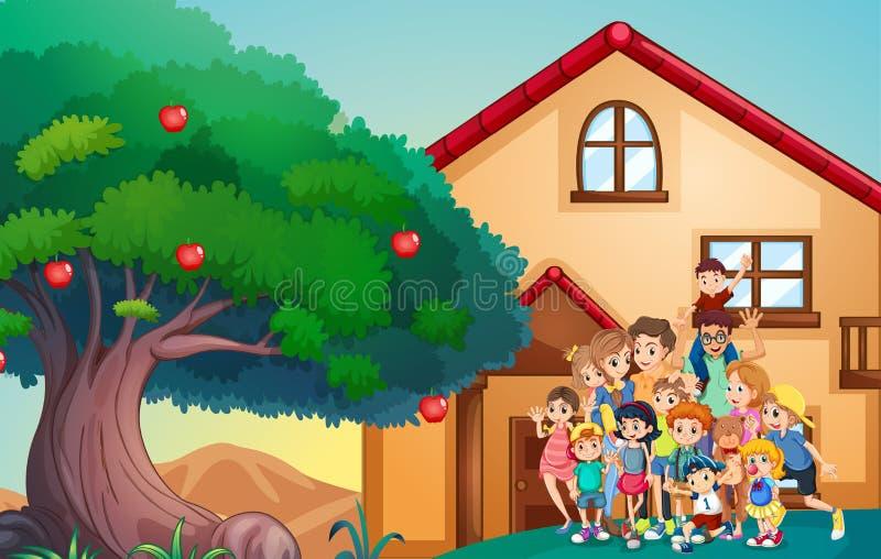 Miembros de la familia delante de la casa ilustración del vector