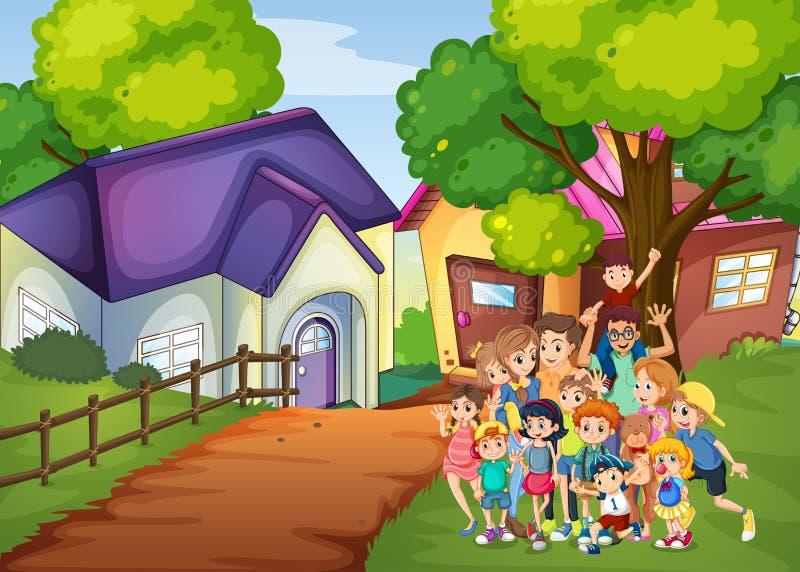 Miembros de la familia delante de la casa libre illustration