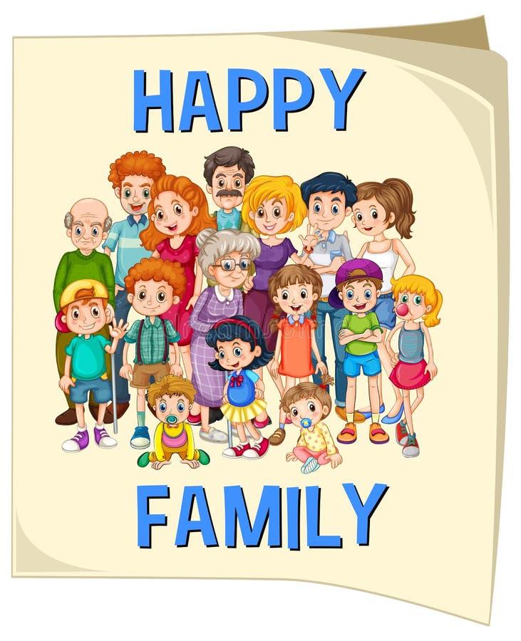 Miembros de la familia en el cartel grande libre illustration