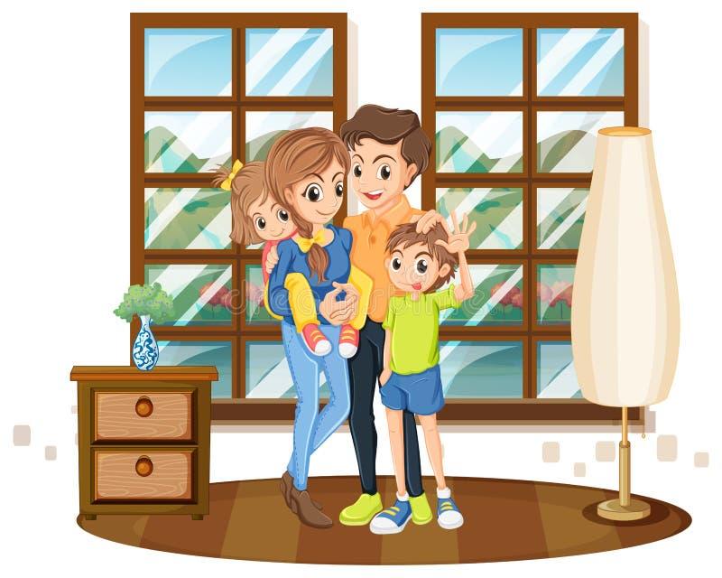 Miembros de la familia en la casa stock de ilustración