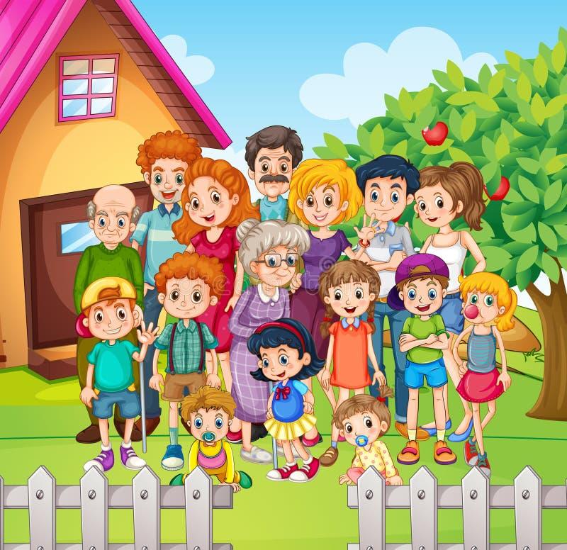 Miembros de la familia que se colocan en la yarda stock de ilustración