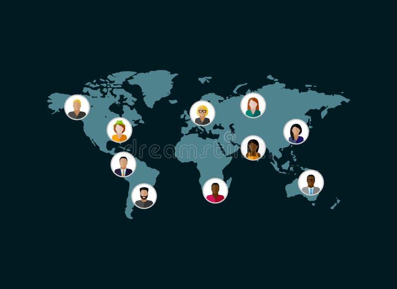 Miembros de la sociedad población sociedad moderna o red global c ilustración del vector