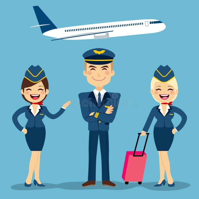 Miembros del equipo de la aviación stock de ilustración