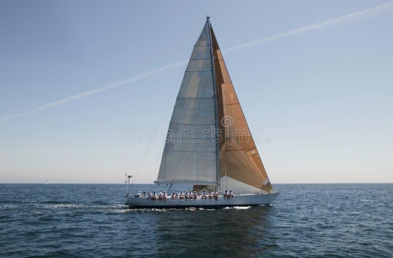 Miembros del equipo que se sientan en el lado de un velero en el océano imágenes de archivo libres de regalías