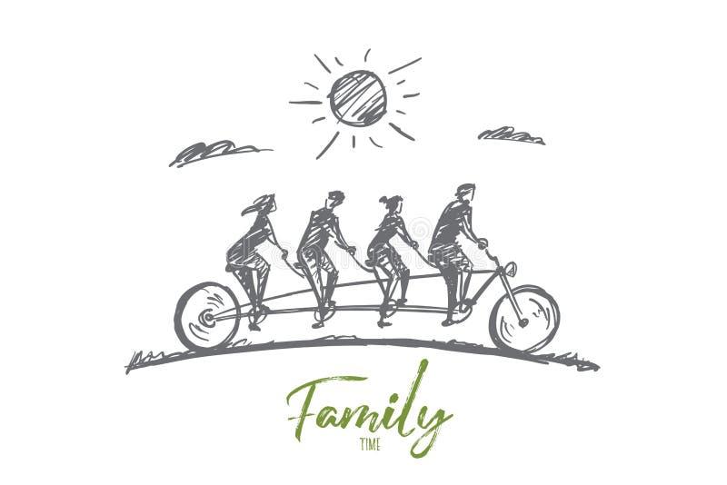 Miembros dibujados mano de la familia de cuatro miembros que montan la bicicleta libre illustration