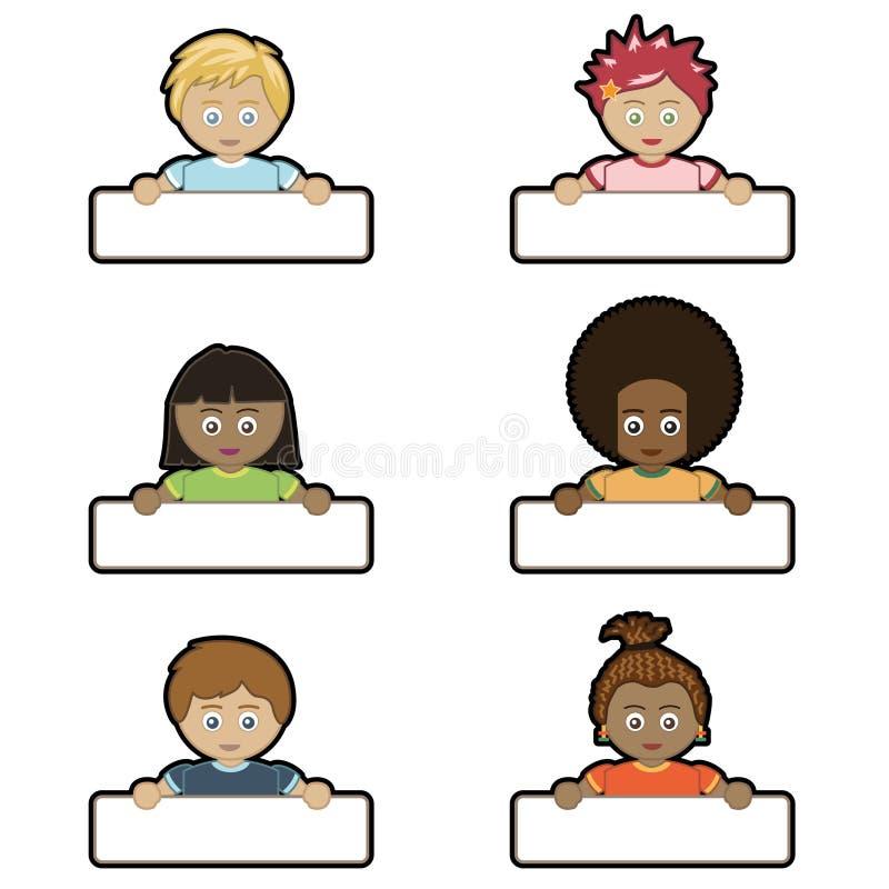 mienia dzieciaków imię etykietki ilustracji