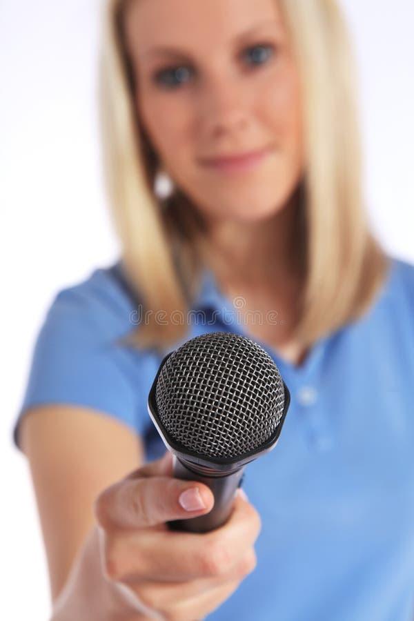mienia przepytującego mikrofonu potomstwa zdjęcia stock