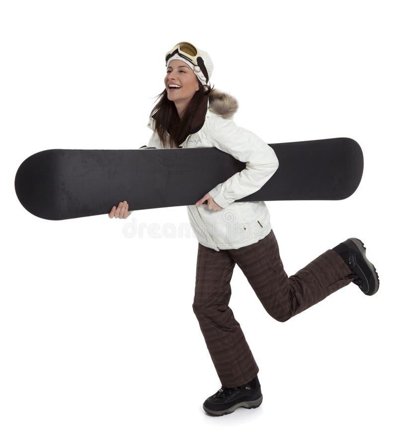 mienia snowboard kobieta zdjęcia stock
