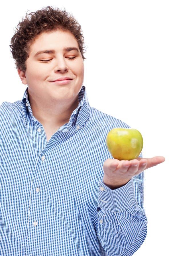 mienie jabłczany pyzaty mężczyzna zdjęcie royalty free