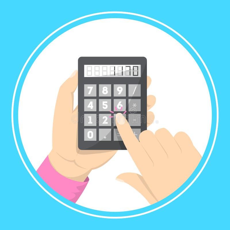 Mienie kalkulatora Robi? biznesowemu obliczeniu ilustracji