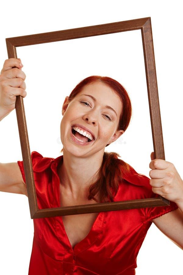 mienie ramowa szczęśliwa kobieta zdjęcie stock
