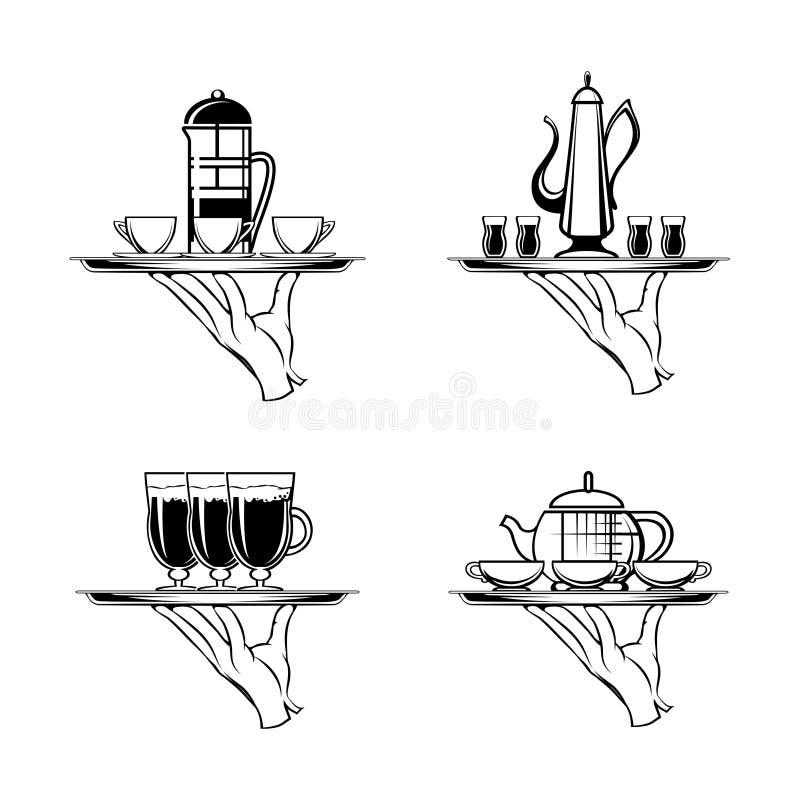 Mienie taca z kawą, herbata lub filiżanki ilustracja wektor