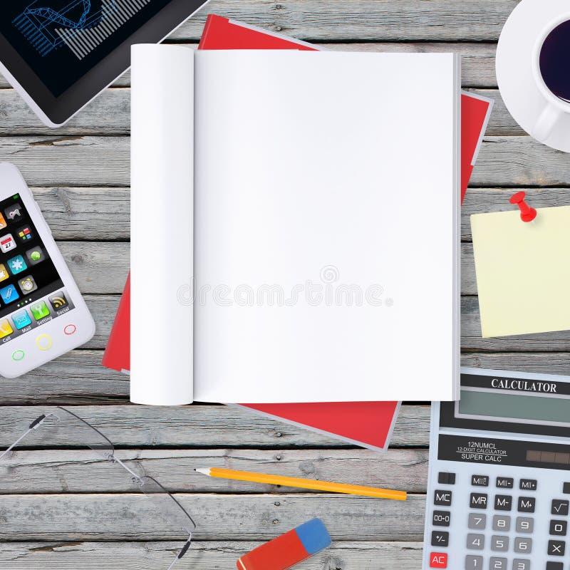 Mienta en smartphone de madera del piso, haga tabletas y ábrase imágenes de archivo libres de regalías