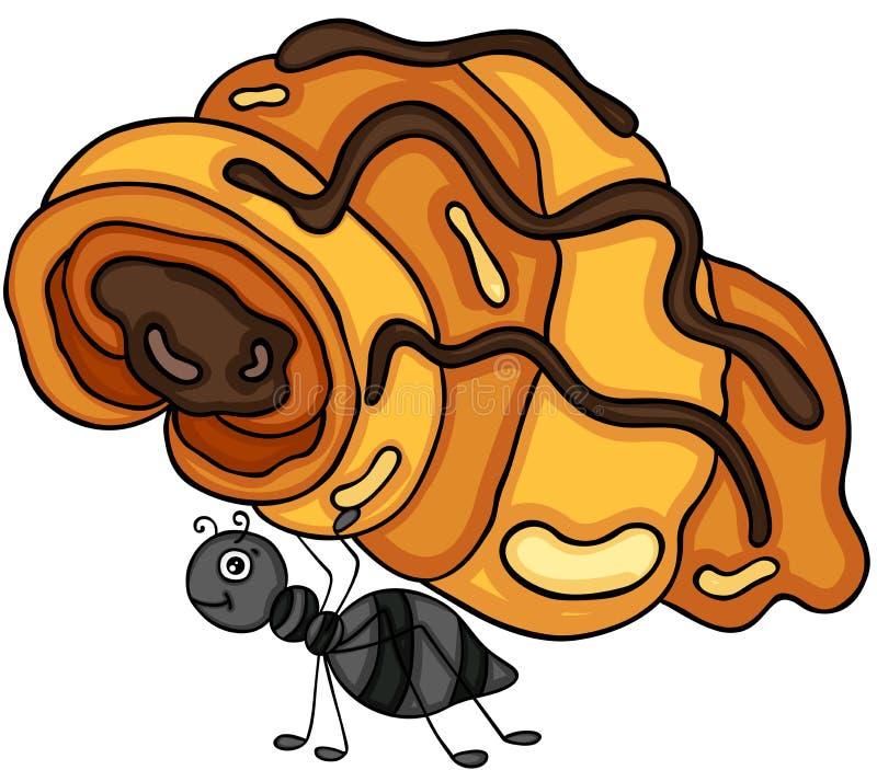 Mier die een croissant met chocolade dragen royalty-vrije illustratie