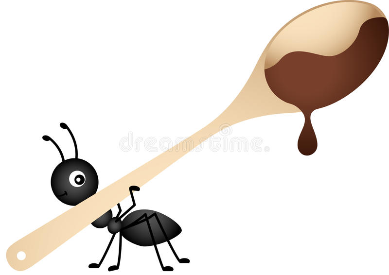 Mier die een houten lepel met chocolade dragen stock illustratie