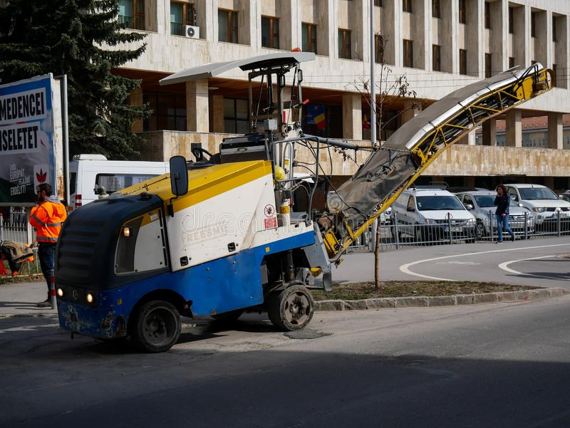 Road construction machinery on the street. stock photo