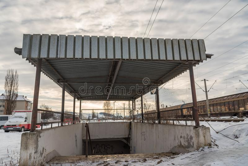 Railway underpass entrance at local train station. royalty free stock photography