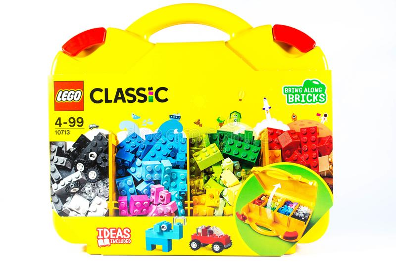 Lego classic building blocks in yellow case. stock images