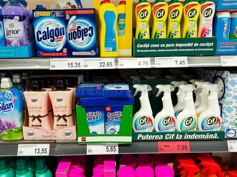 Cleaning supplies at local supermarket close up shot. royalty free stock photos