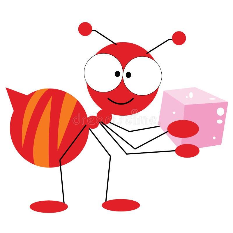 Mieren die suiker dragen stock illustratie