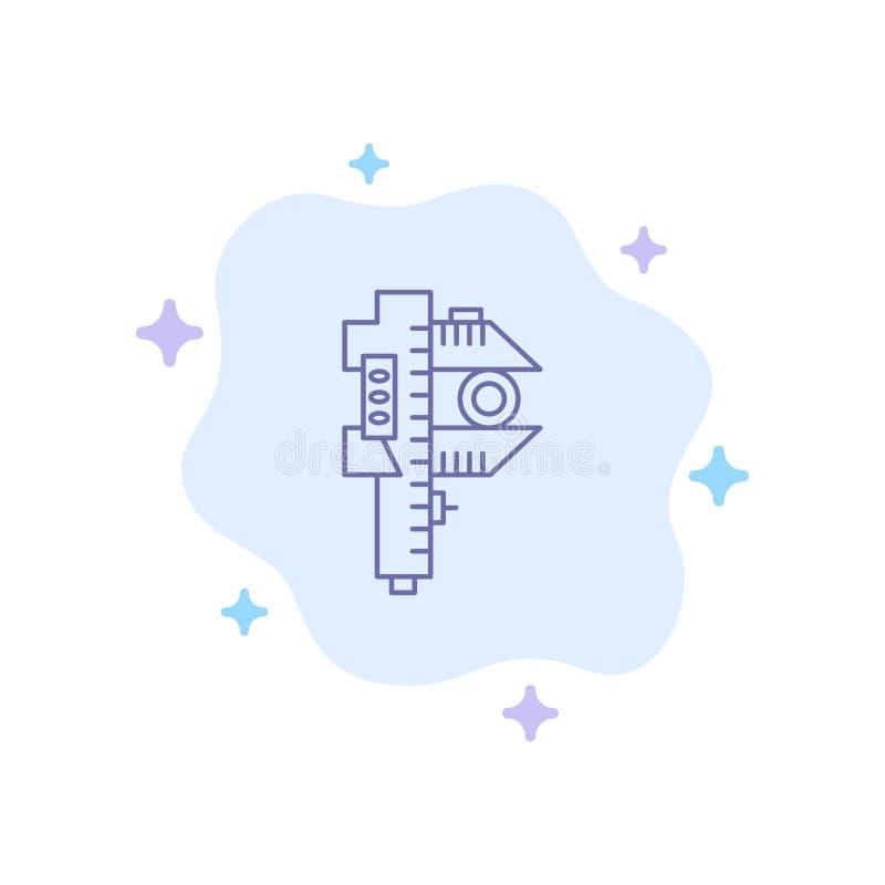 Mierzący, dokładność, miara, Mała, Malutka Błękitna ikona na abstrakt chmury tle, ilustracja wektor