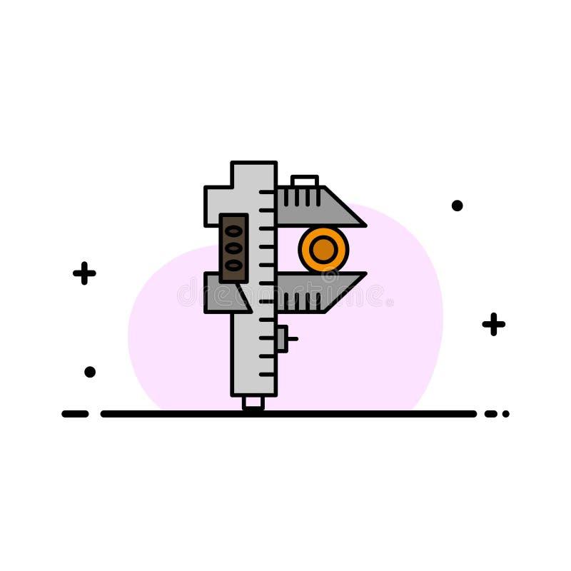 Mierzący, dokładność, miara, Mała, Malutka Biznesowa linia Wypełniający mieszkanie ikony sztandaru Wektorowy szablon, ilustracji
