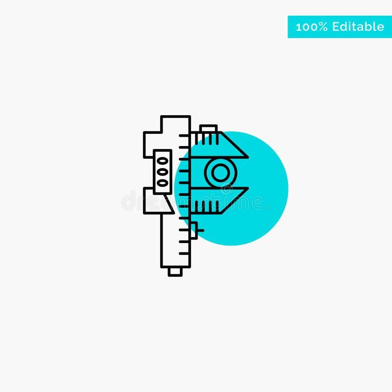 Mierzący, dokładność, miara, Mała, Malutka turkusowa główna atrakcja okręgu punktu wektoru ikona, ilustracja wektor