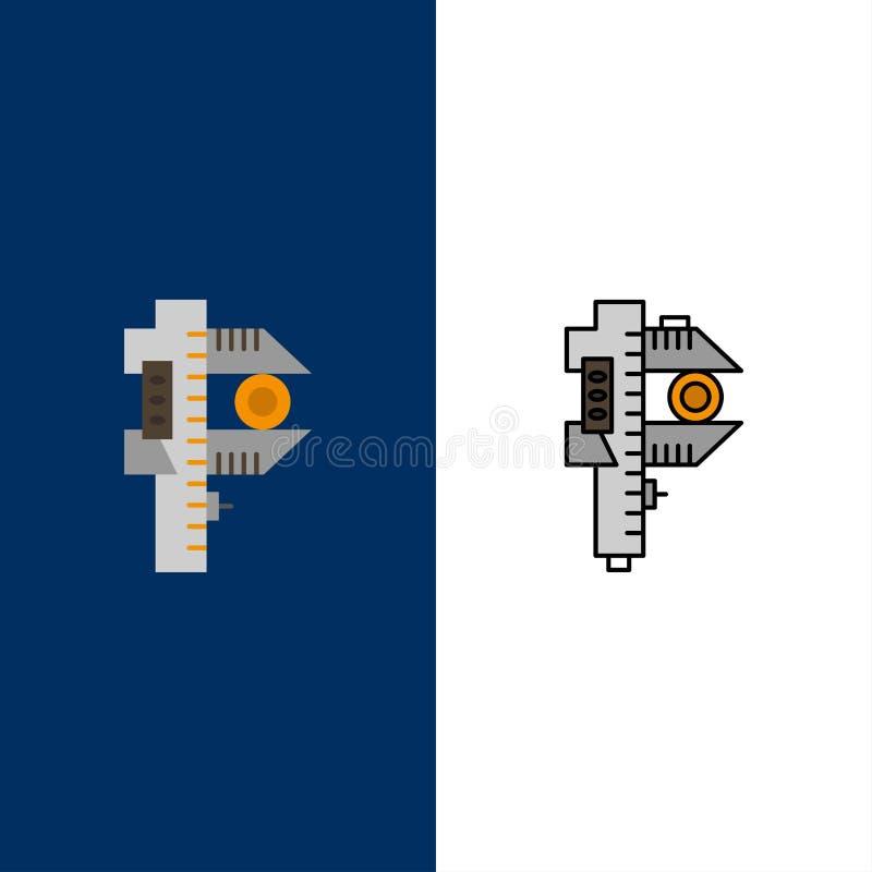 Mierzący, dokładność, miara, Małe, Malutkie ikony, Mieszkanie i linia Wypełniający ikony Ustalony Wektorowy Błękitny tło ilustracja wektor